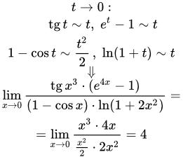 Применение эквивалентных функций при решении пределов