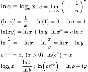 Область определения функции натурального лоарифма